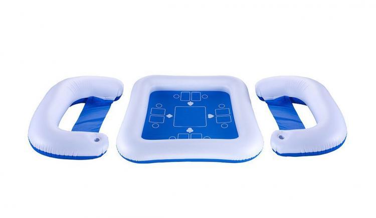 Juego de mesa para jugar cartas con sillas flotante