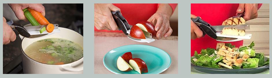 cuchillo tijera 2 en 1 clever cutter