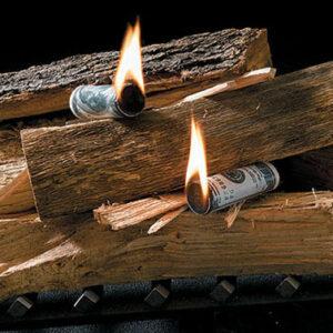 Fire Starter en forma de dolares