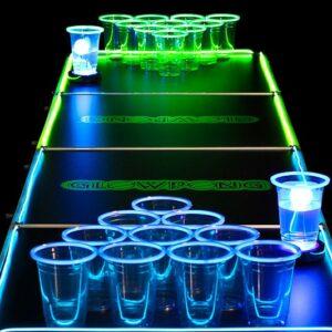 Mesa Beer Pong que Brilla en la Oscuridad