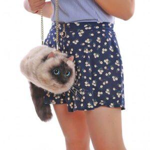 Cartera de mujer de forma de gato realista