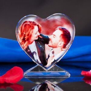 Corazón con impresión de cristal con su imagen personalizada